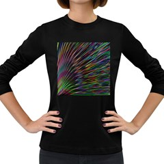 Texture Colorful Abstract Pattern Women s Long Sleeve Dark T Shirts