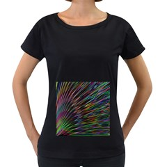 Texture Colorful Abstract Pattern Women s Loose Fit T Shirt (black)