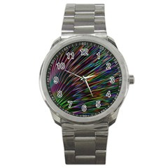 Texture Colorful Abstract Pattern Sport Metal Watch