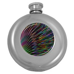 Texture Colorful Abstract Pattern Round Hip Flask (5 oz)
