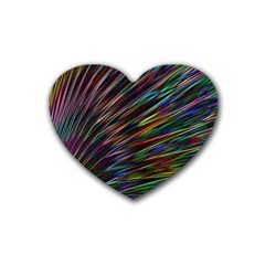 Texture Colorful Abstract Pattern Rubber Coaster (heart)