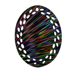 Texture Colorful Abstract Pattern Oval Filigree Ornament (two Sides)