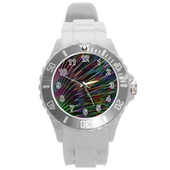 Texture Colorful Abstract Pattern Round Plastic Sport Watch (l)