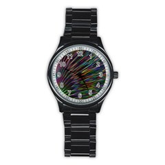 Texture Colorful Abstract Pattern Stainless Steel Round Watch