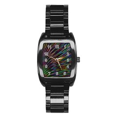 Texture Colorful Abstract Pattern Stainless Steel Barrel Watch