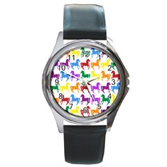 Colorful Horse Background Wallpaper Round Metal Watch