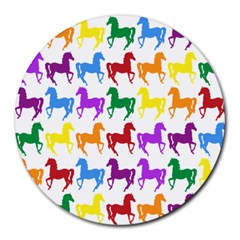 Colorful Horse Background Wallpaper Round Mousepads
