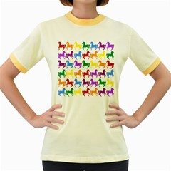 Colorful Horse Background Wallpaper Women s Fitted Ringer T-Shirts