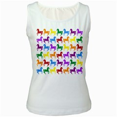 Colorful Horse Background Wallpaper Women s White Tank Top