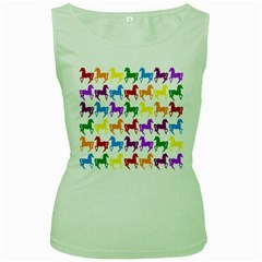 Colorful Horse Background Wallpaper Women s Green Tank Top