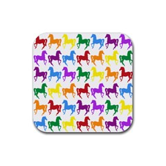 Colorful Horse Background Wallpaper Rubber Square Coaster (4 Pack)