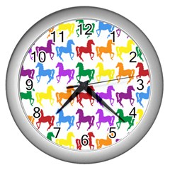 Colorful Horse Background Wallpaper Wall Clocks (Silver)