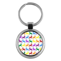 Colorful Horse Background Wallpaper Key Chains (round)