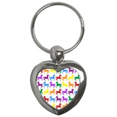 Colorful Horse Background Wallpaper Key Chains (heart)