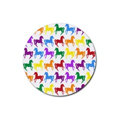 Colorful Horse Background Wallpaper Rubber Round Coaster (4 Pack)