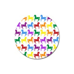 Colorful Horse Background Wallpaper Magnet 3  (round)