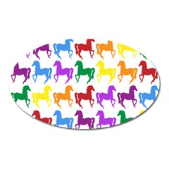 Colorful Horse Background Wallpaper Oval Magnet
