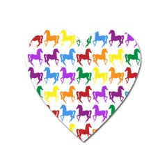 Colorful Horse Background Wallpaper Heart Magnet
