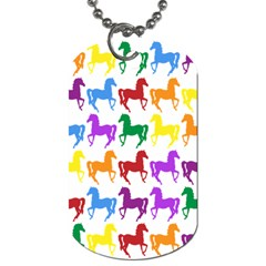 Colorful Horse Background Wallpaper Dog Tag (one Side)