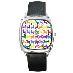 Colorful Horse Background Wallpaper Square Metal Watch