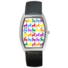 Colorful Horse Background Wallpaper Barrel Style Metal Watch