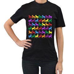 Colorful Horse Background Wallpaper Women s T Shirt (black) (two Sided)
