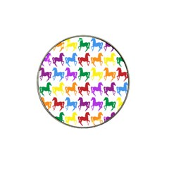 Colorful Horse Background Wallpaper Hat Clip Ball Marker (4 Pack)