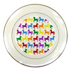 Colorful Horse Background Wallpaper Porcelain Plates