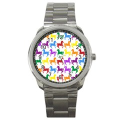 Colorful Horse Background Wallpaper Sport Metal Watch