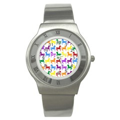 Colorful Horse Background Wallpaper Stainless Steel Watch