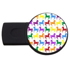 Colorful Horse Background Wallpaper Usb Flash Drive Round (4 Gb)