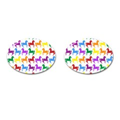 Colorful Horse Background Wallpaper Cufflinks (Oval)