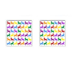 Colorful Horse Background Wallpaper Cufflinks (square)