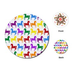 Colorful Horse Background Wallpaper Playing Cards (Round)