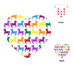 Colorful Horse Background Wallpaper Playing Cards (heart)