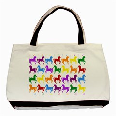 Colorful Horse Background Wallpaper Basic Tote Bag