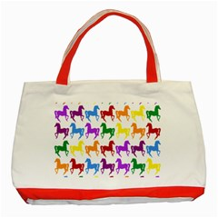 Colorful Horse Background Wallpaper Classic Tote Bag (red)