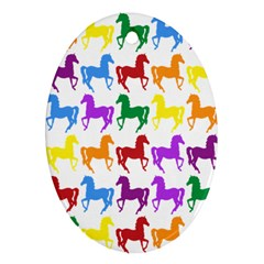 Colorful Horse Background Wallpaper Oval Ornament (two Sides)