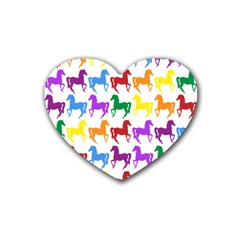 Colorful Horse Background Wallpaper Rubber Coaster (heart)