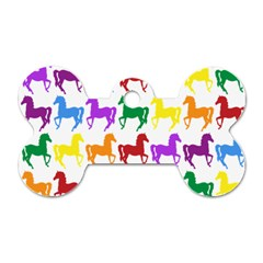 Colorful Horse Background Wallpaper Dog Tag Bone (two Sides)