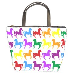 Colorful Horse Background Wallpaper Bucket Bags