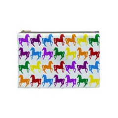 Colorful Horse Background Wallpaper Cosmetic Bag (medium)