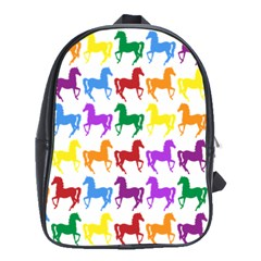 Colorful Horse Background Wallpaper School Bags(large)