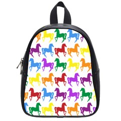 Colorful Horse Background Wallpaper School Bags (small)