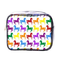 Colorful Horse Background Wallpaper Mini Toiletries Bags