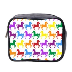 Colorful Horse Background Wallpaper Mini Toiletries Bag 2 Side