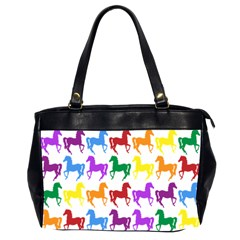 Colorful Horse Background Wallpaper Office Handbags (2 Sides)