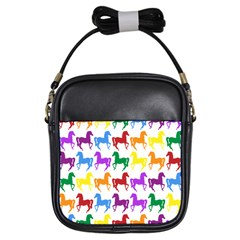 Colorful Horse Background Wallpaper Girls Sling Bags