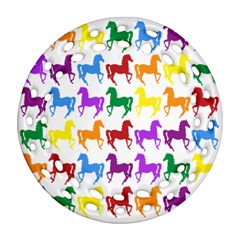 Colorful Horse Background Wallpaper Ornament (round Filigree)