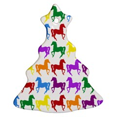 Colorful Horse Background Wallpaper Christmas Tree Ornament (two Sides)